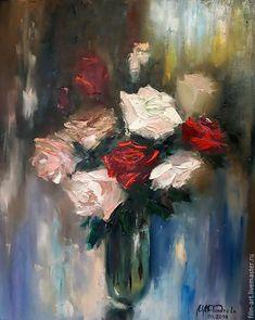 """Розы Картина маслом на холсте - """"Вечерний букет """" - синий, красный, пастельные тона, коричневый, кремовый, картина маслом на холсте, картина маслом цветы, розы маслом, авторская живопись маслом, картина с розами, розы, картина в подарок, картина для интерьера, эксклюзив декор, филатова, букет цветов, масляная живопись, филин-арт, картина маслом от автора, букет цветов маслом"""
