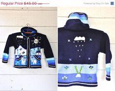 30 SALE Peruvian Guatemalan Wool Sweater Jacket by LaDeaDeiSogni, $31.50