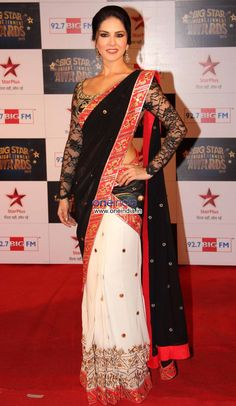 Mahi Fashion ~ Products ~ Sunny Leone Red Black and White Bollywood Half Half Saree ~ Shopify Bollywood Stars, Bollywood Fashion, Bollywood Actress, Indian Attire, Indian Wear, Indian Outfits, Black And White Saree, Red Black, Indian Bridal Fashion