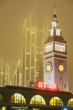 Ferry Building In Fog With Skyscrapers In The Background, San Francisco  www.mitchellfunk.com