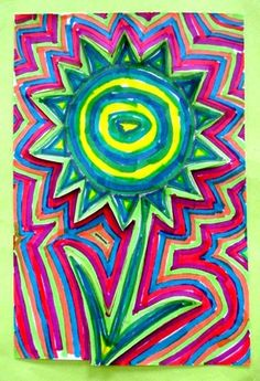Draw one large flower, bold line, color in with concentric line patterns, then concentric background