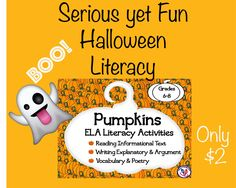 Grab their attention with interesting informational texts about pumpkins, vocabulary connections, fascinating facts that are incorporated into critical thinking activities, writing explanatory text about how to make a jack-o-lantern, writing a short argument/persuasive about why and how people can eat more pumpkin in their diets, and more challenging but fun ELA activities.
