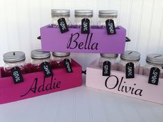 Dave Ramsey Inspired Kids Mason Jar Bank Wood Planter Box. Kids money jar bank-pink/purple colors.  Budget System. Give, Save, Spend Organiz by SimpleSerendipity on Etsy https://www.etsy.com/listing/223953433/dave-ramsey-inspired-kids-mason-jar-bank