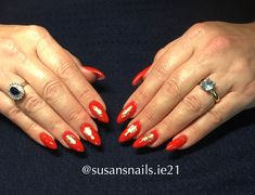 Red gel nails with E.Mi nail stickers