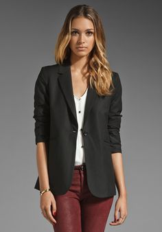ELIZABETH AND JAMES Heather Blazer in Black Good out fit, if only the pants were more red