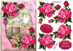 Deep Pink Roses At The Rose Cottage on Craftsuprint designed by Anne Lever - This lovely topper features gorgeous deep pink roses with a rose cottage background. It has decoupage, a greetings and a blank greetings tile.  - Now available for download!
