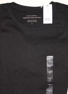 Banana Republic Men's NEW Black Short Sleeve Tee Shirt Large 100 % Pima Cotton #BananaRepublic #BasicTee
