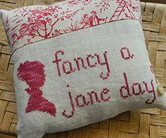 """""""Fancy a Jane day"""" pillow. Pattern available through the link."""