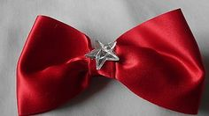 Set of 2 Hair Bows lined Alligator Clips! Red & Jeans wih Flower NEW!