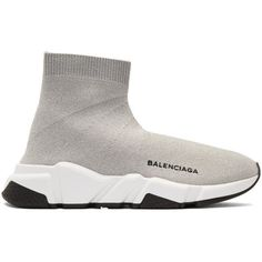 Balenciaga Silver Speed Runners High-Top Sneakers ($835) ❤ liked on Polyvore featuring shoes, sneakers, silver, silver trainers, high top trainers, silver shoes, balenciaga shoes and high-top sneakers