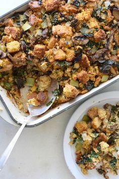 Cornbread Stuffing with Kale and Mushrooms | Pamela Salzman