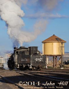 The Cumbres & Toltec Scenic narrow gauge railroad in Antonito CO hosts steam engines of the historic Denver & Rio Grande Western railroad in its Antonito, CO yard as engine 487 readies to take her train 63 miles to Chama NM over Cumbres Pass and through Toltec Gorge.