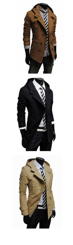 Men's Solid Casual Trench Cotton Blend Long Sleeve Coat