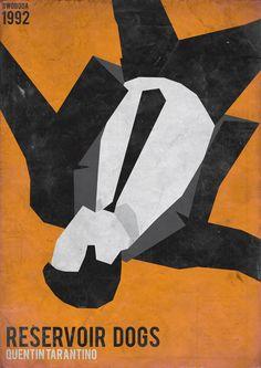 Reservoir Dogs in Minimalist Movie Poster **Instead of just orange, do block color stripe background**
