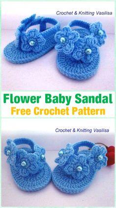 Crochet Flower Baby Sandals Free Pattern Video - Crochet Baby Flip Flop Sandals [FREE Patterns]