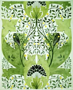 Wallpaper design by CFA Voysey with blackbirds among stylized leaves, 1906-07. Watercolour on paper