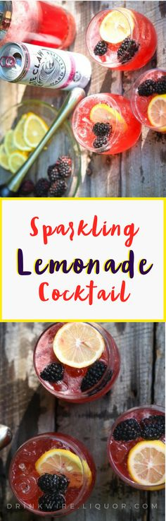 Sparkling Berry Lemonade That's So Easy to Make We LOVE but we especially love sparkling lemonade with fresh Summer Drink Recipes, Best Cocktail Recipes, Summer Drinks, Fun Drinks, Party Drinks, Mixed Drinks, Spring Cocktails, Easy Cocktails, Classic Cocktails