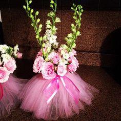Baby shower table arrangements. Theme: Ballerinas https://www.facebook.com/therobinsnestevents