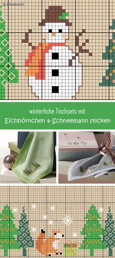 Tischset mit Schneemann und Eichhörnchen im Wald sticken.  #Sticken #Kreuzstich / #Weihnachten / #Schneemann; #Embroidery #Crossstitch / #Christmas / #snowman / #ZWEIGART