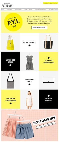 "Kate Spade June Email - image led / grid layout. Colourful, fun, pretty. ""Glossy""."