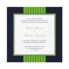 Navy Blue & Lime Green Wedding Invitation by claire_shearer