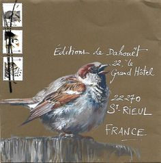 """Yann Lesacher is an artist who lives in Brittany, France. He is working on an ongoing project """"Feathere. Flor Magnolia, Mail Art Envelopes, Art Postal, Decorated Envelopes, Sound Art, Envelope Art, Postcard Art, Watercolor Bird, Bird Art"""