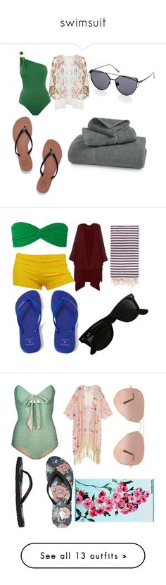 """""""swimsuit"""" by seleneglopez ❤ liked on Polyvore featuring Água de Coco, Mat, Tory Burch, Izod, Norma Kamali, Havaianas, The Row, Turkish-T, Ray-Ban and Lilliput & Felix"""