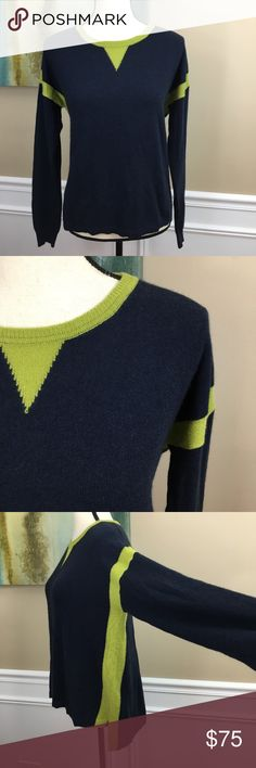 """AUTUMN CASHMERE Sweater large AUTUMN CASHMERE Sweater(F15)  100% Cashmere Lightweight & Soft Navy With Contrasting Chartreuse Accents Hi Low Hem Great Sweater for ALL Seasons!  Women's SZ Large Measurements Laying Flat Under Arm to Under Arm 22"""" Front Length 21.6"""" Back Length 25"""" Autumn Cashmere Sweaters Crew & Scoop Necks"""