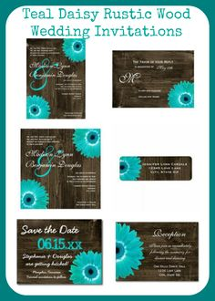 Teal Gerber Daisy Rustic Country Barn Wood Wedding Invitations