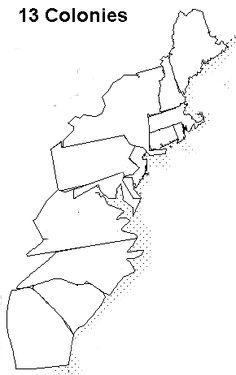 13 Colonies Map Quiz Sketch Coloring Page