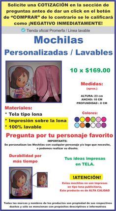 10 Mochilas Dulcero Personalizadas Lavables + Lona De Regalo -   169.00 en  MercadoLibre 2f1062770507c