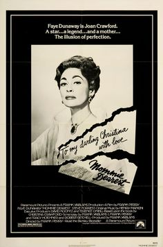 MOMMIE DEAREST half subway movie poster 81 great portrait of Faye Dunaway as Joan Crawford. This movie is a good oldie, but parts are rough. Faye Dunaway, Joan Crawford, Doug Mcclure, Peter O'toole, American Graffiti, Sean Penn, Gary Oldman, Paul Newman, Bette Davis