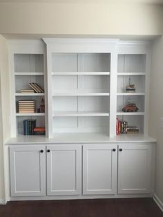 Ana White Built In Bookcase With Lights Diy Projects Built In Bookshelves Shower Shelves Built Into Wall Built In Shelves Living Room, Living Room Bookcase, Living Room Storage, Built In Bookcase, Bookcases, Library Bookshelves, Storage Beds, Bookcase Styling, White Furniture