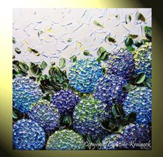"ORIGINAL Art Abstract Painting "" Spring Hydrangea "" Purple Blue White Flowers Lavender Hydrangeas Floral Fine Art Modern Landscape Flower Paintings, Impasto Palette Knife Contemporary Textured Gallery Artwork Home Decor Wall Art by Collected Christine Krainock"