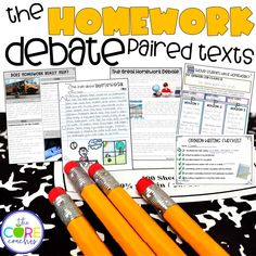 Lesson plans and differentiated paired texts on the homework debate.