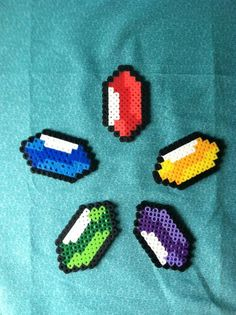 Perler Bead Legend of Zelda Rupee Keychains by DesignsByAliselyn