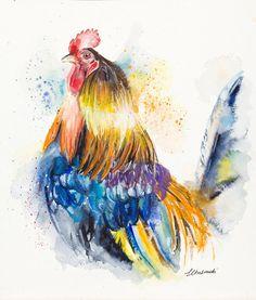 Multicolour Rooster Watercolour Print