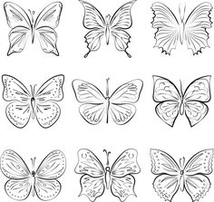 Conjunto de mariposas vectores dibujados a mano — Ilustración de stock Butterfly Images, Vector Hand, Fabric Painting, How To Draw Hands, Tattoos, Illustration, Flowers, Paintings, Vectors