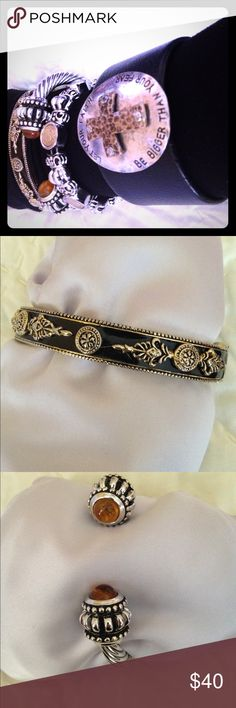 GORGEOUS BRACELETS 4 MIXED METAL, Stones, Leather Beautiful heavy colors- black, silver, gold, amber Jewelry Bracelets