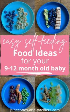 Inspiration for food and meal ideas for 9 month old self-feeding. Once your baby is on to solid food try these 28 self-feeding meal ideas for babies and toddlers. #blw #babyledweaning #babyfood Baby Finger Foods, Baby Foods, Baby Puree Recipes, Baby Food Recipes, Healthy Toddler Meals, Kids Meals, Healthy Eating Habits, Healthy Food, Meal Ideas