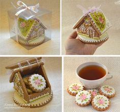 Super cute gift idea for someone really special -- cookie house with cookies and tasty tea packet inside. Fancy Cookies, Iced Cookies, Cute Cookies, Cupcake Cookies, Sugar Cookies, Gingerbread Cookies, Christmas Cookies, Cookies Et Biscuits, Cupcakes
