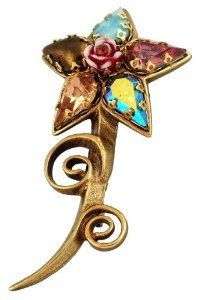 Lovely Michal Negrin Flower Brooch Beautifully Designed with a Central Vintage Rose Surrounded by Brown Blue and Beige Tear Drop Swarovski Crystals