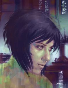 scarlett johansson as motoko kusanagi (ghost in the shell) speedpaint 90.min