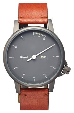 Miansai 'M24 Noir' One-Hand Leather Strap Watch, 39mm available at #Nordstrom