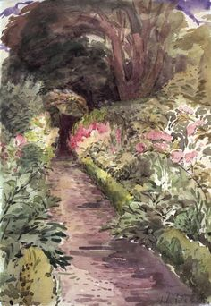 Beatrix Potter, sketch of a garden at Gwaynynog, Wales 1909