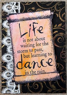 Card by Robyn Wood using Darkroom Door 'Dance' Quote Stamp, 'Scroll' Frame Stamp and Flourish Background Stamp.