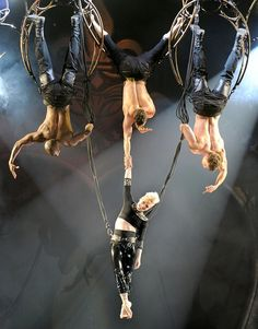 Pink showed off her acrobatic skills yet again when the 33-year-old casually hung on as she was suspended in mid-air during a concert in Manchester, England, on Sunday night. (4/14/2013)