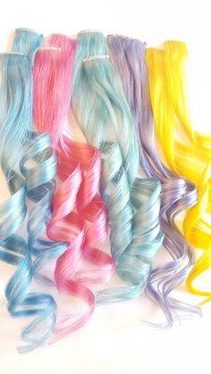 Real Human Hair Extensions, Extensions Hair, Baby Blue Hair, Ariel Hair, Pastel Sky, Rainbow Pastel, Underlights Hair, Hair Extension Clips, Unicorn Fashion
