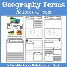 Free Geography Terms Notebooking and Mini-Book Printables