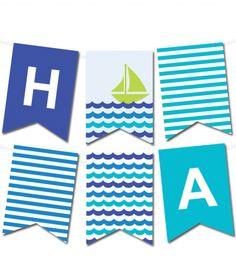 Free Printable Sea Waves Pennant Banner from printablepartydecor.com